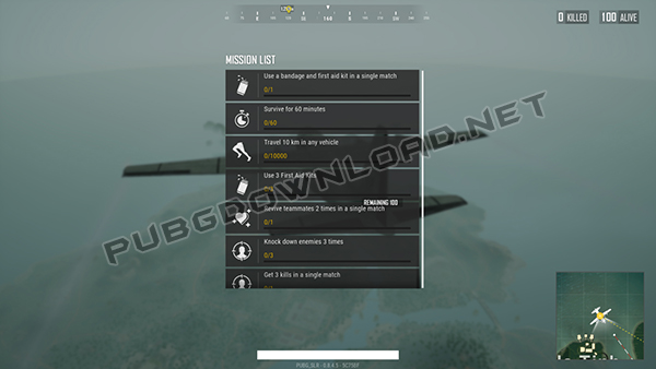 Mission List from PUBG Lite Download for PC