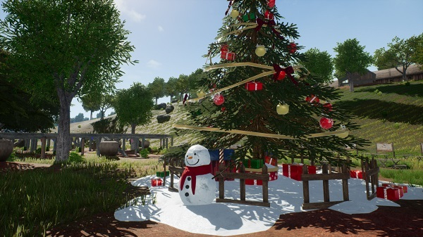 Christmas Decorations in the Lobby and Starting Island