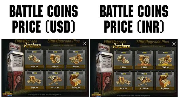 PUBG Mobile Lite Battle Coin Price