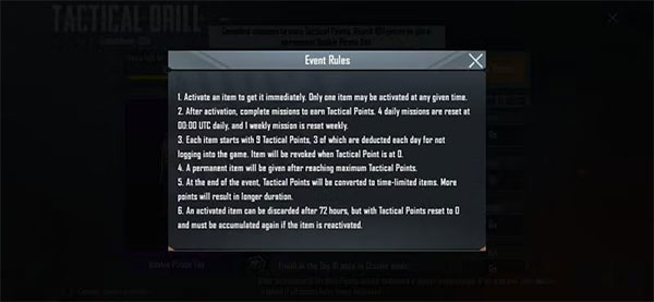 Specific rules of the Tactical Drill event in PUBG Mobile