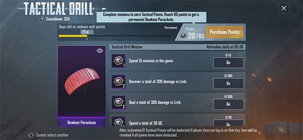 Bowknot Parachute from PUBG Mobile Tactical Drill Event